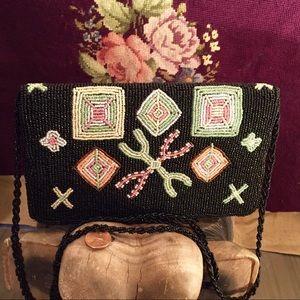 Handbags - Vintage Black Beaded Handbag with BoHo Pattern